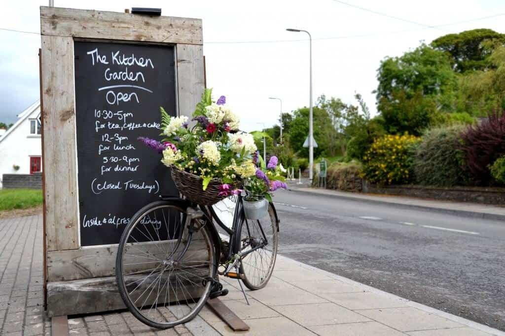 kitchen garden llys meddyg fresh flowers sign bike newport pembrokeshire